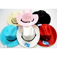 48 Units of Cowboy Girl Hat with Medalion Assorted Colors - Cowboy & Boonie Hat