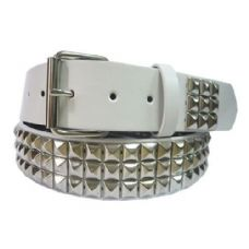 48 Units of Pyramid Studded Silver Belt - Unisex Fashion Belts