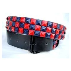 48 Units of Pyramid Studded Blue & Red Belt - Unisex Fashion Belts
