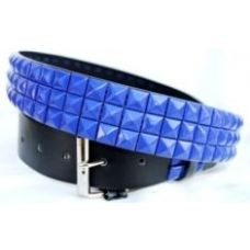 48 Units of Pyramid Studded Blue Belt - Unisex Fashion Belts