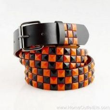 48 Units of 3-Row Metal Pyramid Studded Leather Belt Unisex Mens Womens - Unisex Fashion Belts