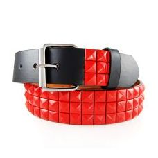 48 Units of 2-Row Metal Pyramid Studded Leather Belt Unisex Mens Womens - Unisex Fashion Belts