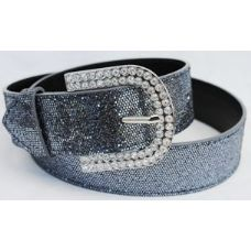 48 Units of Rhinestone Buckle Dark Grey Color - Womens Belts