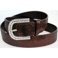 48 Units of Rhinestone Buckle Brown Sparkle Belt - Womens Belts