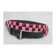 48 Units of Pink-black 2-Row Metal Pyramid Studded kids Leather Belt girl - Kid Belts