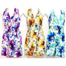 24 Units of Floral Printed Short Summer Dresses V Neck