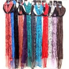 48 Units of Light Weight Printed Lady Scarves with Glitters Paisley - Womens Fashion Scarves