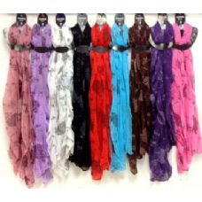 48 Units of Rose Printed Scarves Assorted Colors - Womens Fashion Scarves