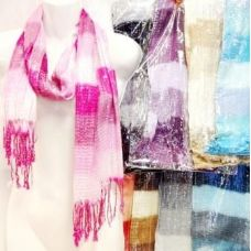 48 Units of Silver Lined Sectional Fashion Scarf Scarves - Womens Fashion Scarves