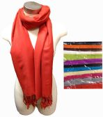 24 Units of Solid Color Fashion Pashmina with fringe - Womens Fashion Scarves