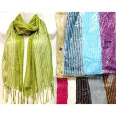 48 Units of Silver Lined Scarves Assorted Colors - Womens Fashion Scarves