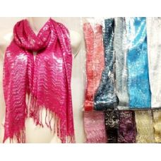 48 Units of Silver Lined ZigZag Scarves Assorted - Womens Fashion Scarves