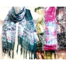 48 Units of Tie Dye Silver Lined Scarves Assorted - Womens Fashion Scarves