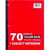 48 Units of 1 Subject College Ruled Wireless Notebook - 70 Sheets - Notebooks