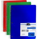 36 Units of 5-Subject Wide Ruled Wire Notebook - Assorted - Notebooks