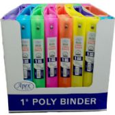 48 Units of Assorted Neon 3 Ring 1 Inch Vinyl Binder - Clipboards and Binders