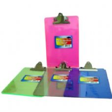 "48 Units of Bulk Acrylic Clip Board - 6"" x 9"" - assorted colors - Clipboards and Binders"