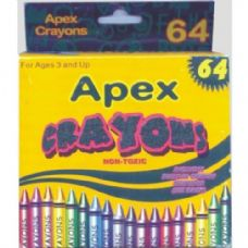 48 Units of 64 Count APEX Crayons - Chalk,Chalkboards,Crayons