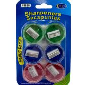 48 Units of Pencil Sharpeners - 6 Pack Assorted Colors - Sharpeners