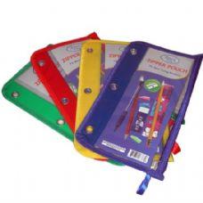 48 Units of Pencil Pouch, Clear Poly, Asst. Colors - Pencil Boxes & Pouches