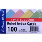 60 Units of Ruled Index Card 3x5 Pastel Colors - 100ct - Labels ,Cards and Index Cards