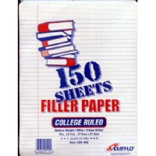 24 Units of 150 Ct AMPAD filler Paper College Ruled - Paper