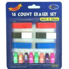 48 Units of Neon 14 ct eraser set - ERASERS