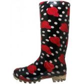 18 Units of 13 1/4 Inches Women's Black Red Roses Printed Rain Boots Size 5-10