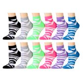 48 Units of Ladies Zebra Print Ankle Sock - Womens Ankle Sock