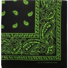 48 Units of Bandana-Black/Green Paisley - Bandanas