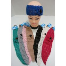 48 Units of Loose Knitted Sparkle Ear Band with Flower & Fur - Head Wraps