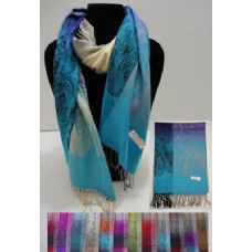 36 Units of Pashmina with Fringe--Color Fade Roses & Flowers