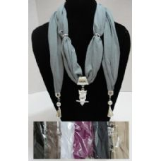 """12 Units of Scarf Necklace with End Charms-Owl 70"""" - Womens Fashion Scarves"""