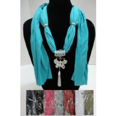 12 Units of Scarf Necklace-Butterfly with Tassels 70 - Womens Fashion Scarves