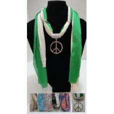"""12 Units of Scarf Necklace-Colored Rhinestone Peace Sign 70"""" - Womens Fashion Scarves"""