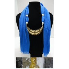 """12 Units of Scarf Necklace-Crescent Moon w/ Gold Scrollwork 70"""" - Womens Fashion Scarves"""