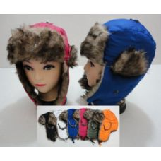24 Units of Child's Bomber Hat with Fur Lining--Solid Color