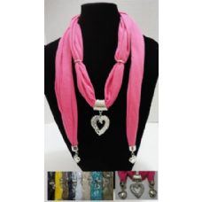 """12 Units of Scarf Necklace-Filigree Heart w/ Rhinestones & End Charms 70"""" - Womens Fashion Scarves"""