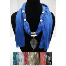 "12 Units of Scarf Necklace-Filigree Leaf 68"" - Womens Fashion Scarves"