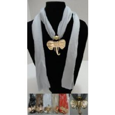 """12 Units of Scarf Necklace-Golden Elephant Head 70"""" - Womens Fashion Scarves"""