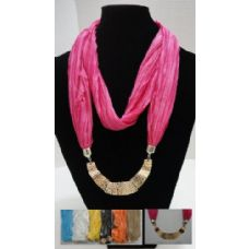 12 Units of Scarf Necklace-Loop Scarf w/ Golden Charms - Womens Fashion Scarves