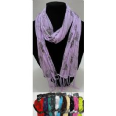 12 Units of Sheer Scarf with Fringe--Pinstripe/Roses/Sparkle - Womens Fashion Scarves