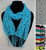12 Units of Sheer Scarf with Fringe--Polka Dots/Sparkle - Womens Fashion Scarves