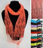60 Units of Sheer Scarf with Fringe--Stripes/Floral/Sparkle - Womens Fashion Scarves