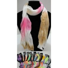 12 Units of Sheer Scarf-Tie Dye - Womens Fashion Scarves