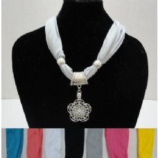 "60 Units of  Short Scarf Necklace with Star Flower-30"" - Womens Fashion Scarves"