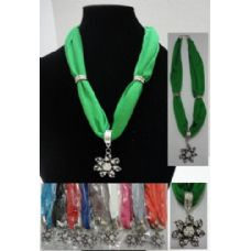 "12 Units of Short Scarf Necklace-7pt Rhinestone Flower 30"" - Womens Fashion Scarves"