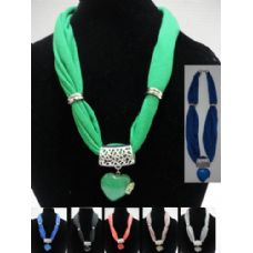 "36 Units of Short Scarf Necklace-Colorful Stone Heart with Rhinestones 30"" - Womens Fashion Scarves"
