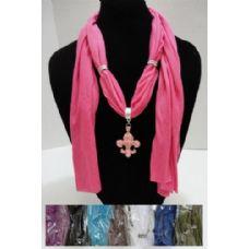 """12 Units of Short Scarf Necklace-Fleur de Lis 30"""" - Womens Fashion Scarves"""