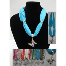 36 Units of Short Scarf Necklace-Jeweled Butterfly 30""